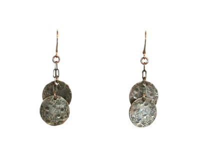 TEXTURED STERLING DISC EARRINGS, JESSICA AND IAN GIBSON