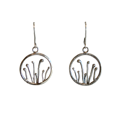 OXIDIZED STERLING ROUND SPROUT EARRINGS, JESSICA AND IAN GIBSON