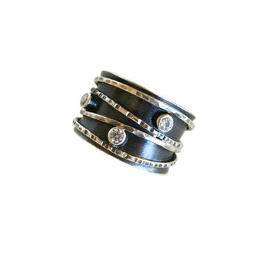 ETCHED & HAMMERED OXIDIZED BAND RING W/ THREE 3MM WHITE CZ, JESSICA AND IAN GIBSON