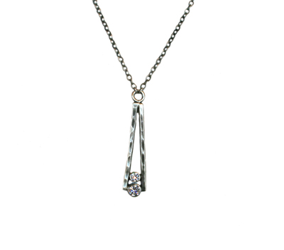 HAMMERED TOWER NECKLACE W/ CZS, JESSICA AND IAN GIBSON