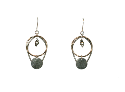 HAMMERED TEARDROP & OPEN CIRCLE EARRINGS, OXI STERLING, 14K GOLDFILL, JESSICA AND IAN GIBSON