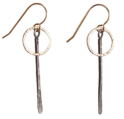 ETCHED 14K GOLD FILL CIRCLE WITH HAMMERED STERLING DROP EARRINGS, JESSICA AND IAN GIBSON