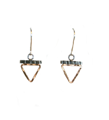 HAMMERED 14K GOLD FILL TRIANGLE WITH ETCHED STERLING BAR EARRINGS, JESSICA AND IAN GIBSON