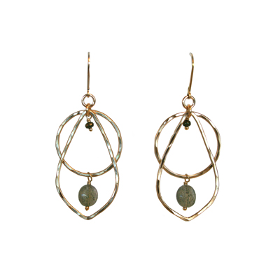 HAMMERED 14K GOLD FILL OPEN CIRCLE & TEARDROP SHAPE WITH PYRITE & LABRADORITE DROP EARRINGS, JESSICA AND IAN GIBSON