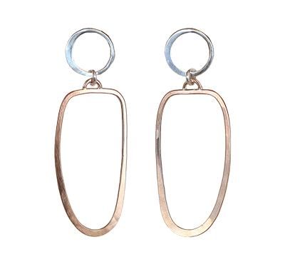 STERLING CIRCLE & SQ OVAL DROP EARRINGS, JESSICA AND IAN GIBSON