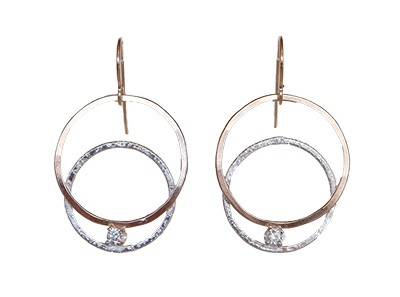 14KT GOLDFILL CIRCLE EARRING W/ STERLING CIRCLE & 3MM WHITE CZ, JESSICA AND IAN GIBSON