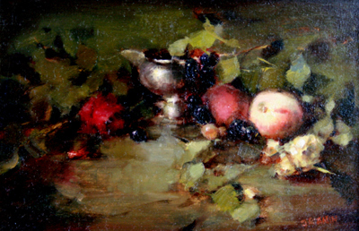 SILVER WITH PEACHES AND RED ROSE, JACQUELINE KAMIN