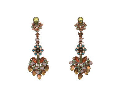 EARRING MANDALA BROWN/GREEN LIGHT ANTIQUE COPPER, KONPLOTT