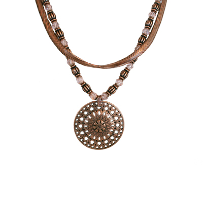 ROSONE PINK ANTIQUE COPPER NECKLACE, KONPLOTT