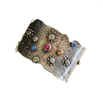 MAP OF THE UNIVERSE CUFF W/ EMBOSSED LEAVES & COMPASS, SAPPHIRE, RUBY, CITRINE, AQUAMARINE, BARBARA LANCI