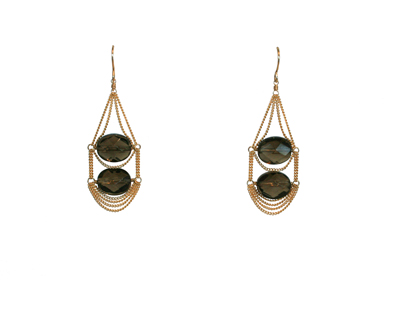 GOLD CHAIN EARRINGS WITH TWO SMOKY QUARTZ GEMS, LINA