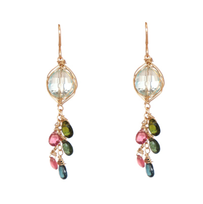 BLUE TOPAZ & TOURMALINE EARRINGS, LINA