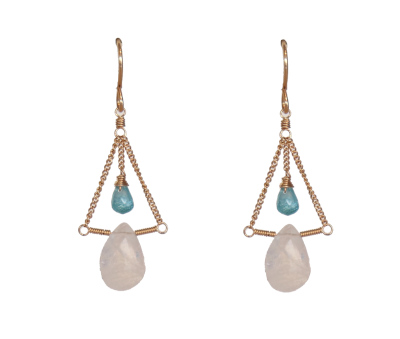 MOONSTONE & APATITE EARRINGS, LINA