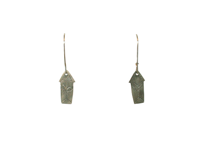 SILVER HOUSE EARRINGS W/ ETCHED TREES, J.C. MILNER