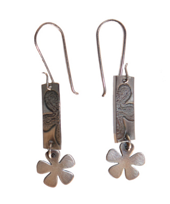 PRESSED FLOWER ON STERLING SILVER RECTANGLE WITH FLOWERS EARRINGS, J.C. MILNER