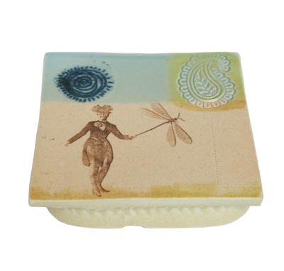 SQUARE DRAGONFLY & FIGURE PLATE, LISA MERTINS