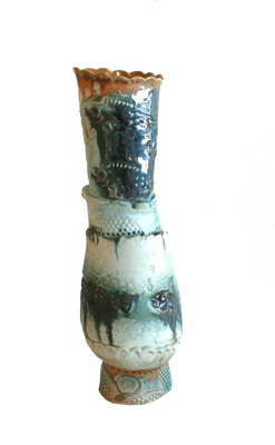 BLUE / BROWN FISH VASE, LISA MERTINS