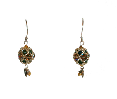 GREEN & CHAMPAGNE ROUND BEADED EARRINGS, SORAYA MONTELONGO