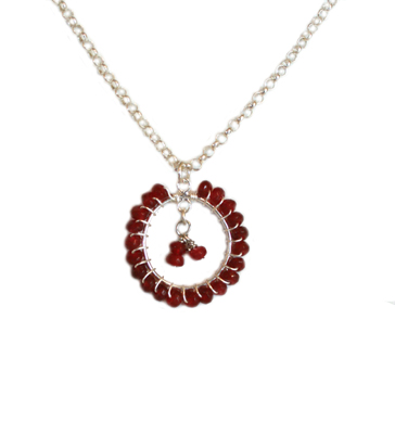 NECKLACE- BEADED CIRCLE PENDANT, SORAYA MONTELONGO