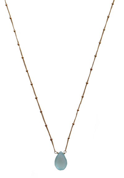 AQUA CHALCEDONY NECKLACE WITH GOLD CHAIN, ELIZABETH NADLER