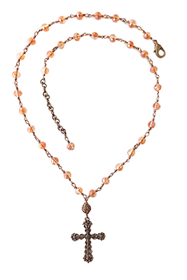CROSS NECKLACE WITH PINK BEADS, ELIZABETH NADLER