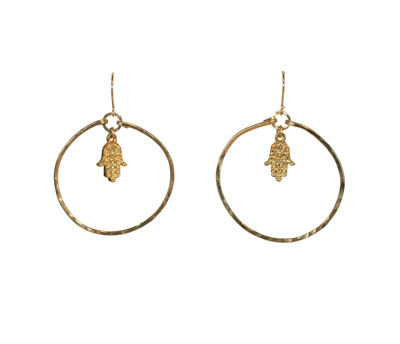 GOLD VERMEIL HOOP EARRINGS W/ HAMSA CHARMS, ELIZABETH NADLER
