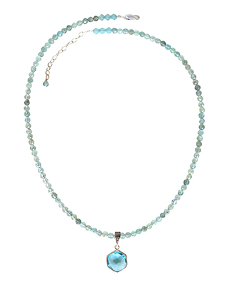 BEADED APATITE NECKLACE WITH BLUE QUARTZ DROP, ELIZABETH NADLER