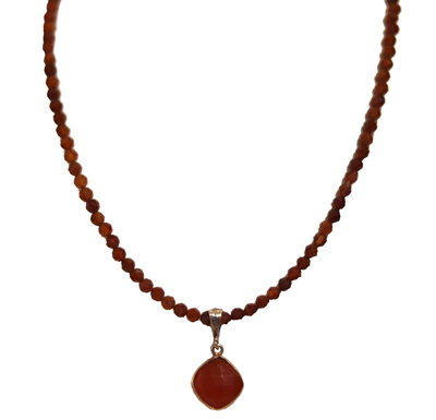 BEADED NECKLACE WITH HESSONITE GARNET, ELIZABETH NADLER