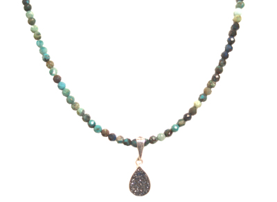 BEADED CRISACOLA NECKLACE WITH DRUZZY DROP, ELIZABETH NADLER
