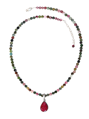 BEADED TOURMELENE WITH RUBY DROP, ELIZABETH NADLER