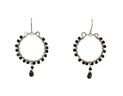 ROUND EARRINGS WITH BLACK ONYX CRYSTALS, ELIZABETH NADLER