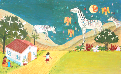 JOHN PARRA - ZEBRAS & ANGELS - ACRYLIC ON BOARD - 19 X 11.5