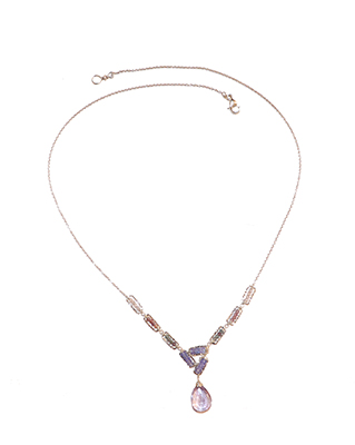 MULTI SPINEL, TANZANITE, PINK AMETHYST NECKLACE, SILVER, MICHELLE PRESSLER