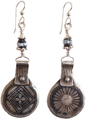 MOROCCAN SILVER PENDANTS W/ GLASS BEAD ACCENT, JANET SEWARD