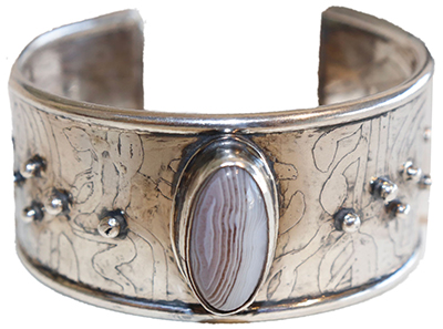 ETCHED AGATE STERLING CUFF, MONIQUE SELWITZ