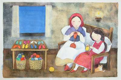 KRISTINA SWARNER - MAKING MITTENS - MIXED MEDIA ON PAPER - 18 X 11.75