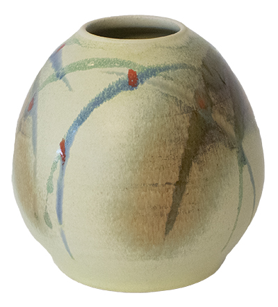VASE WITH YELLOW AND BLUE SLASHES AND RED DOTS, KENNY SMITH
