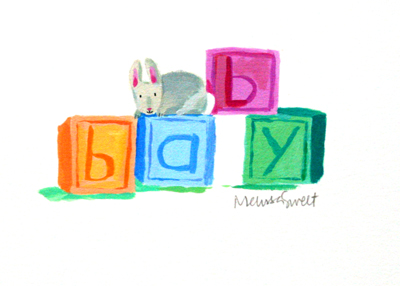 MELISSA SWEET - BABY BLOCKS - MIXED MEDIA ON PAPER - 5 X 3