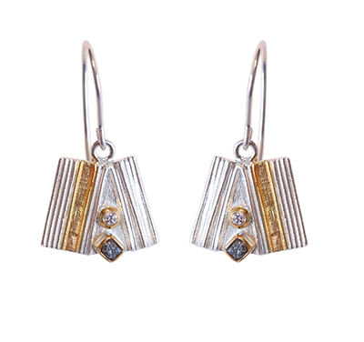 FAN SHAPE EARRING WITH ROUGH DIAMOND, EVA STONE