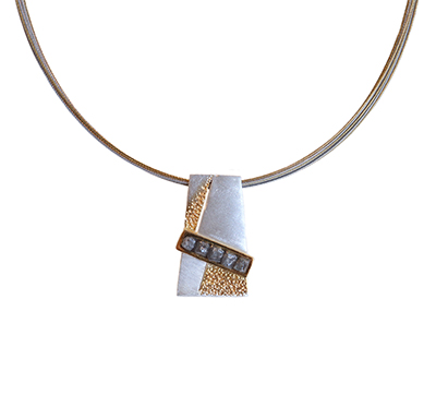 SILVER & GOLD PENDANT WITH DIAG ROUGH DIAMONDS, EVA STONE