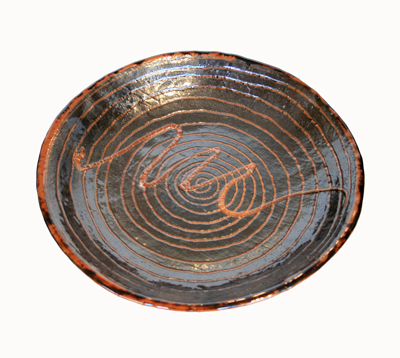 BROWN & BLACK SWIRL CERAMIC BOWL, KARL TANI