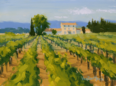 KIM VANDERHOEK - WINEMAKER'S HOUSE - OIL ON PAPER - 12 x 9