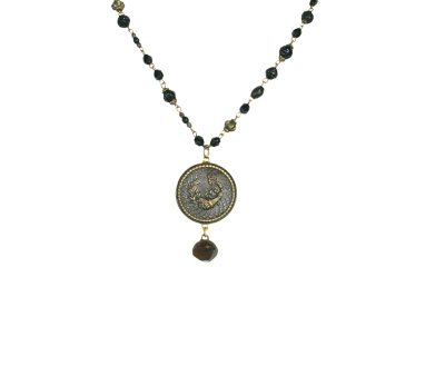 LONG CORNUCOPIA BUTTON NECKLACE, BLACK BEADED CHAIN, MERRY WENNERBERG