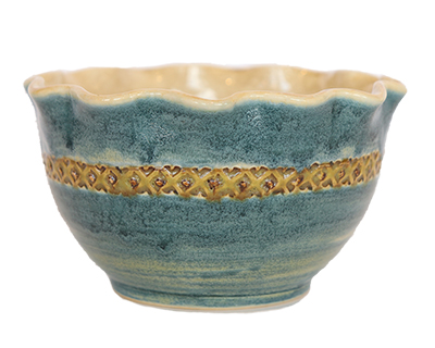 BLUE BOWL WITH GREEN RIBBON PATTERN, JAIME WEBER