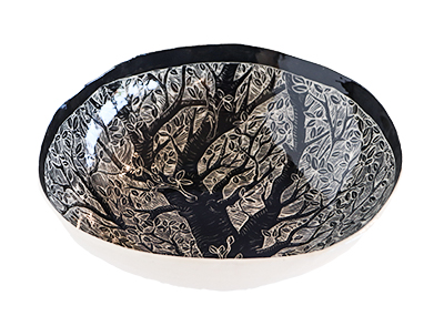 BLACK TREE LINE DRAWN BOWL, SABRINA WELD