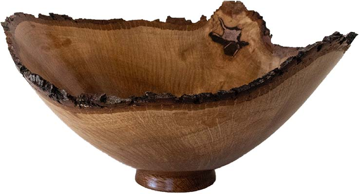 HOLLY OAK NATURAL EDGE BOWL WITH LACQUER FINISH, JONATHAN WEAVER