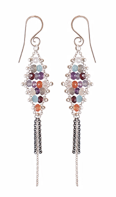 WOVEN DIAMOND TASSEL DUSTER EARRINGS, YED OMI