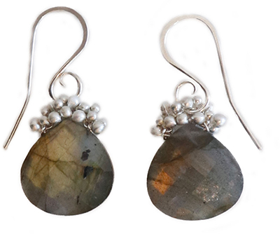LABRADORITE CAVIAR DEW DROP EARRINGS, YED OMI