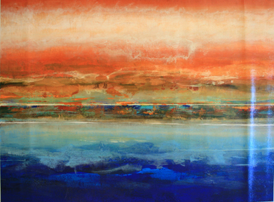 RANDY HIBBERD - SUNSET VIEW - MIXED MEDIA ON CANVAS - 60 X 30