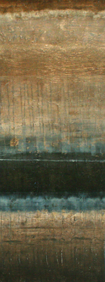 RANDY HIBBERD - MINIMAL LINES I (Brown and Blue) - MIXED MEDIA ON PAPER - 12 X 40